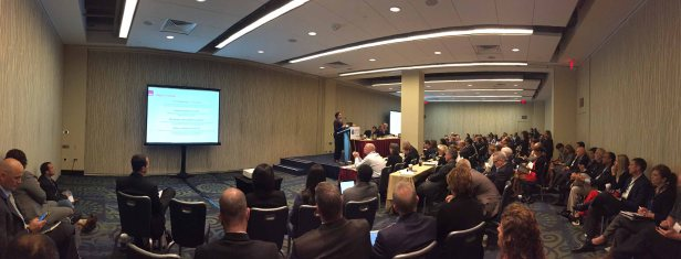 "Dr. Fauzia Khan addresses a packed crowd at ""The Next Generation of ACOs"" panel at US News HOT 2014."